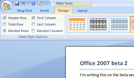 Microsoft office's table tools